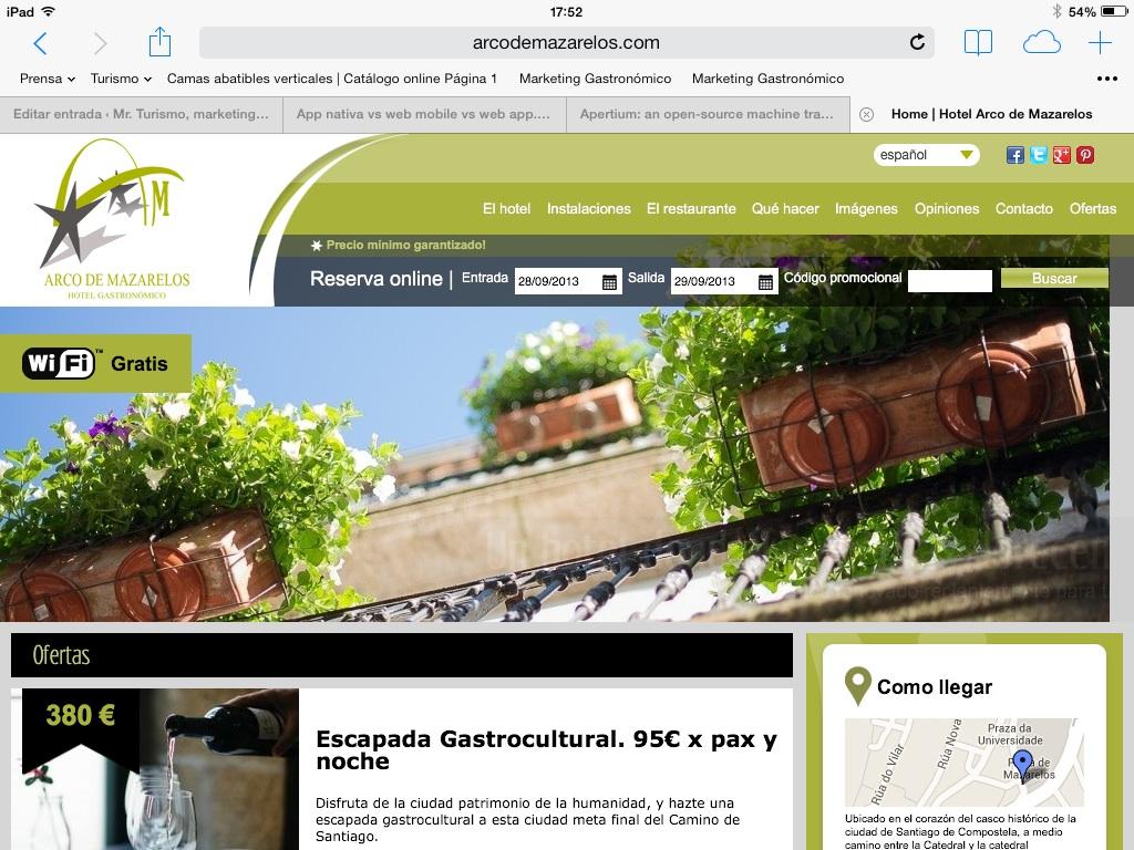 Web del Hotel Arco de Mazarelos